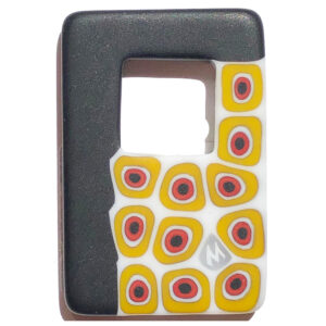 Murano glass rectangular pendant – white, yellow and dark grey
