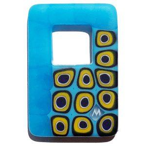 Murrine - collana rettangolare - giallo azzurro