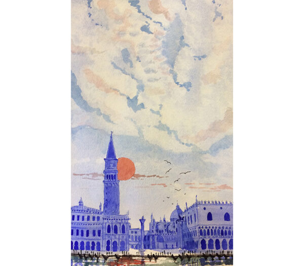 Watercolour in red and blue of Saint Mark's Bell Tower