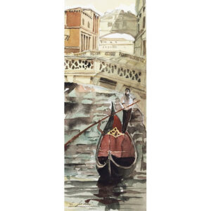 Watercolour - A Gondola at the Bridge of Sighs