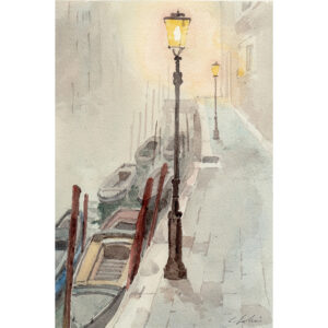 Watercolour of Venice in the fog