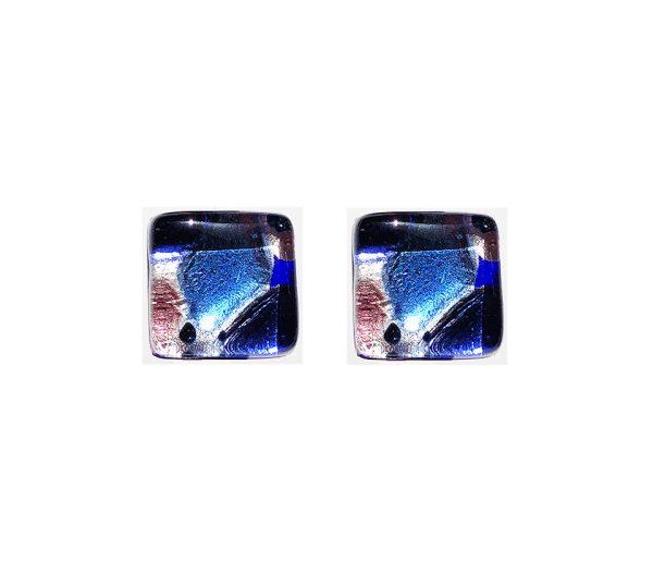 Gemelli in vetro di Murano argento fantasia foglietta blu