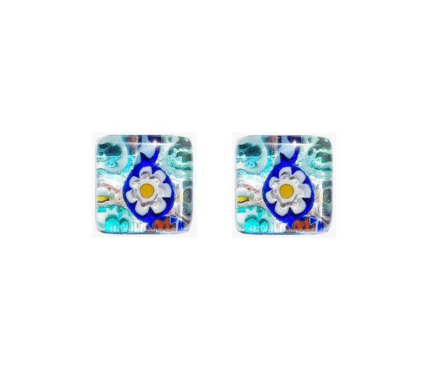 Gemelli in vetro di Murano argento fantasia murrina