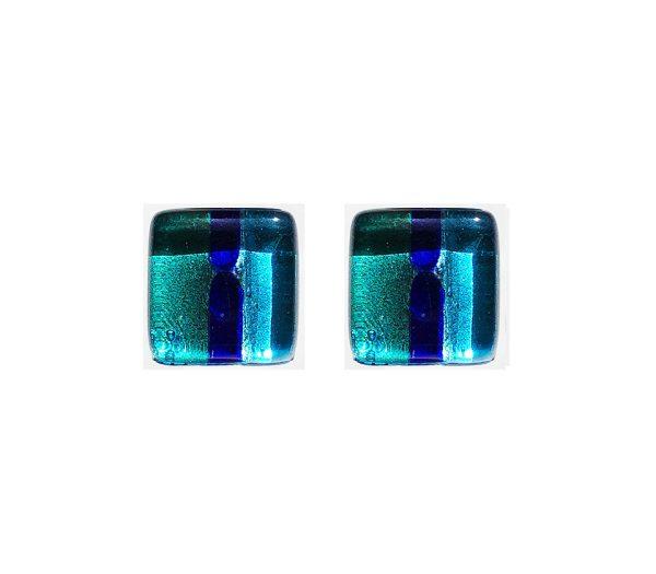 Gemelli in vetro di Murano argento fantasia righe blu