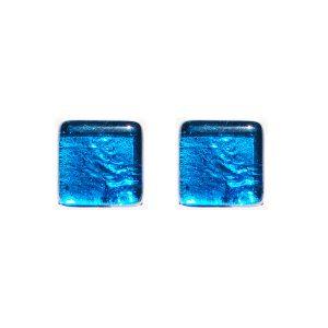 Gemelli in vetro di Murano argento tinta unita azzurro