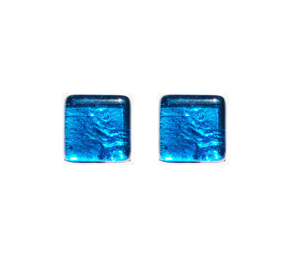 Murano glass cufflinks, silver leaf, light blue