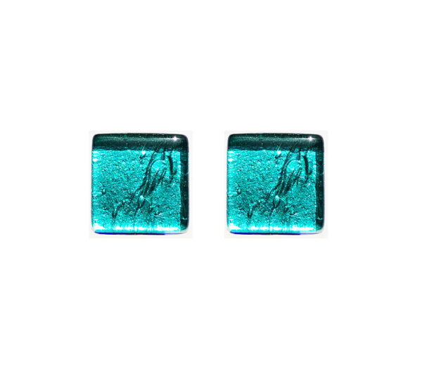 Murano glass cufflinks, silver leaf, sea green