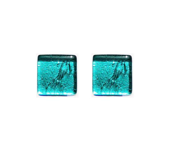 Gemelli in vetro di Murano argento tinta unita verde marino