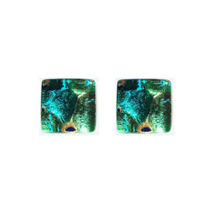 Murano glass cufflinks, gold leaf, rippled green
