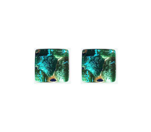 Gemelli in vetro di Murano oro fantasia foglietta verde