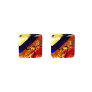 Murano glass cufflinks, gold leaf, multicoloured
