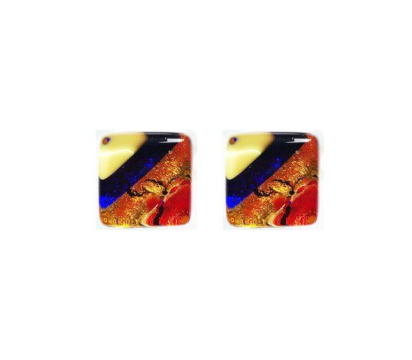 Murano glass cufflinks, gold leaf, multicoloured