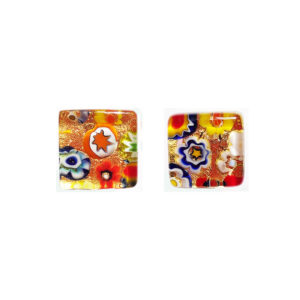 Murano glass cufflinks, gold leaf, murrine