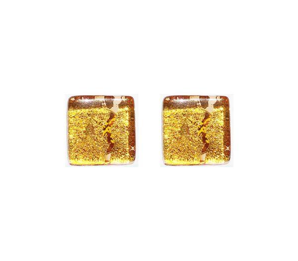 Gemelli in vetro di Murano oro tinta unita oro