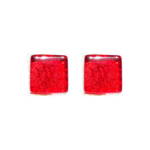 Murano glass cufflinks, gold leaf, red