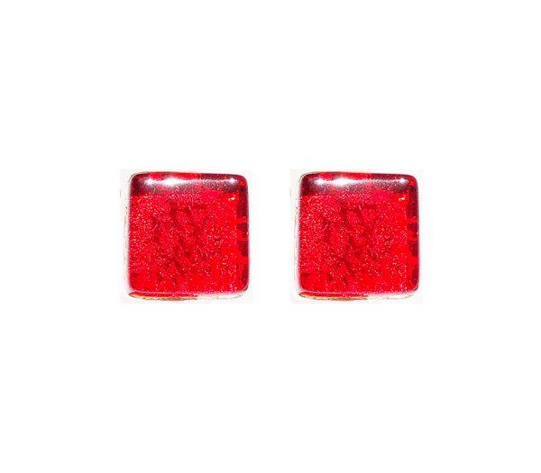 Gemelli in vetro di Murano oro tinta unita rosso