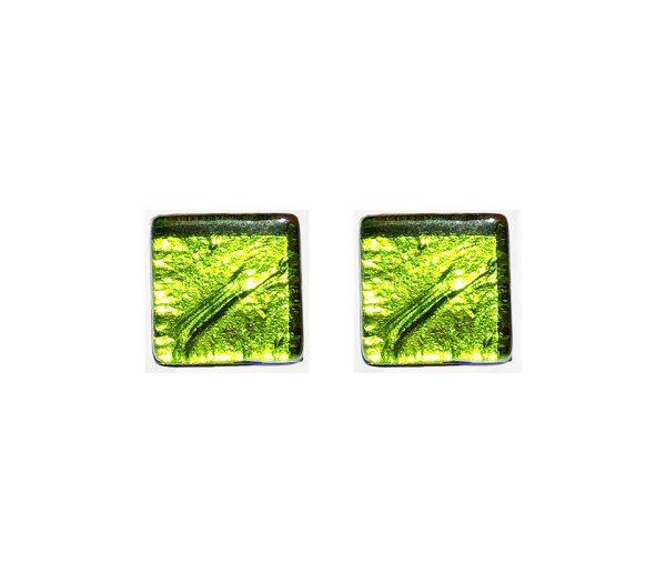 Murano glass cufflinks, gold leaf, light green