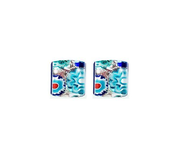 Stud earrings in Murano glass, silver leaf, light blue