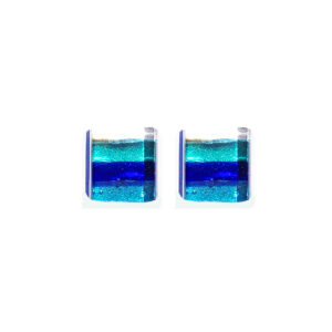 Stud earrings in Murano glass, silver leaf, light blue