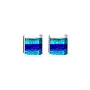 Orecchini argento aghe righe azzurra