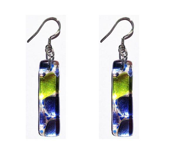 Long Murano glass earrings, silver leaf, rods