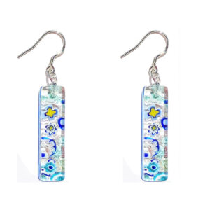 Long Murano glass earrings, silver leaf, murrine