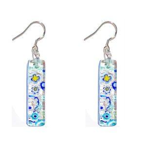 Long Murano glass earrings, silver leaf, murrine