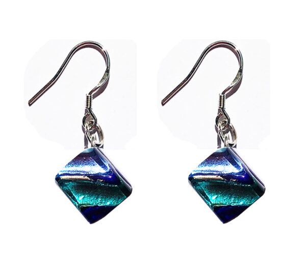 Small Murano glass earrings, silver leaf, blue rods