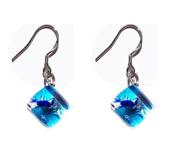 Small Murano glass earrings, silver leaf, light blue