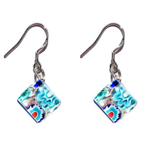 Small Murano glass earrings, silver leaf, murrine