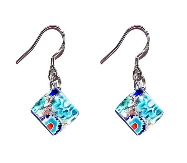 Small Murano glass earrings, silver leaf, murrine