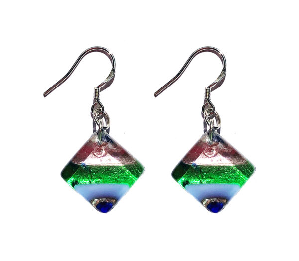 Square Murano glass earrings, silver leaf, rods