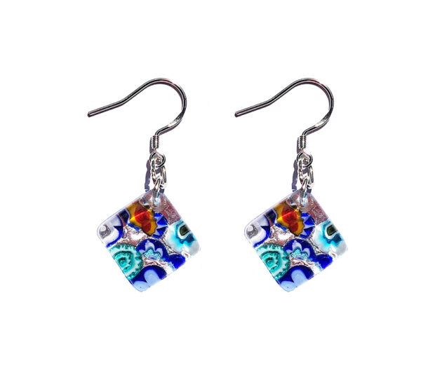 Square Murano glass earrings, silver leaf, murrine