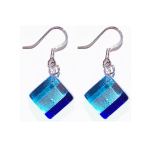 Square Murano glass earrings, silver leaf, stripes