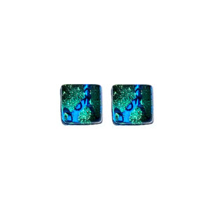Stud earrings in Murano glass, light blue with gold leaf