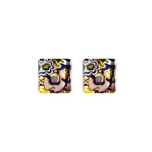 Stud earrings in Murano glass, striped with gold leaf