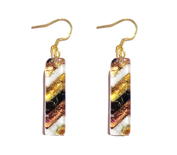 Long Murano glass earrings, black and white with gold leaf