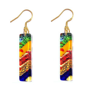 Long Murano glass earrings, multicoloured with gold leaf