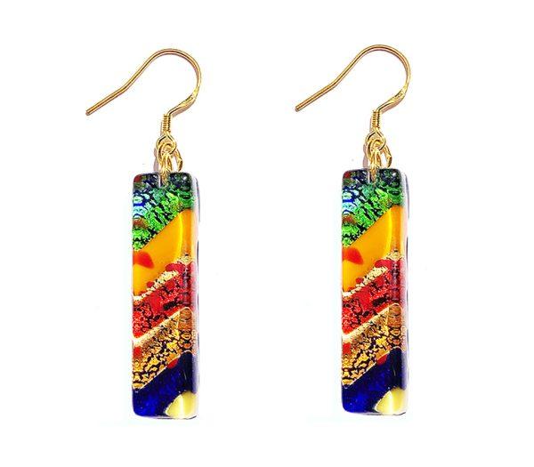 Orecchini foglia d'oro lunghi multicolor