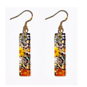 Long Murano glass earrings, murrine with gold leaf