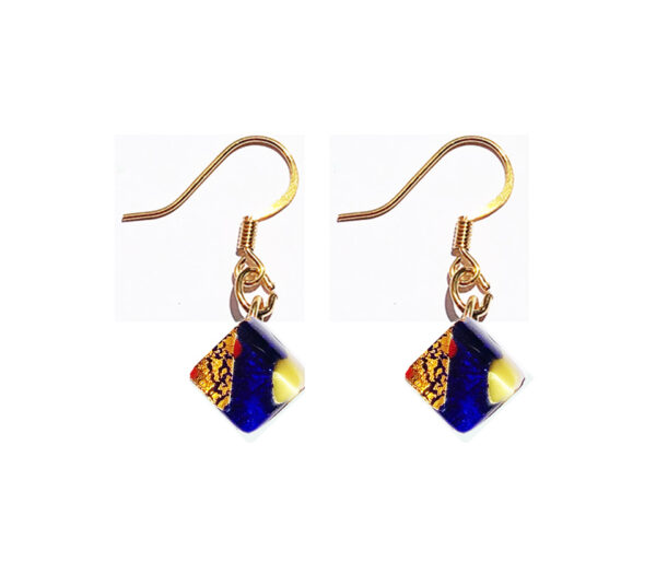 Small Murano glass earrings, multicoloured with gold leaf