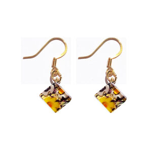 Small Murano glass earrings, gold leaf, murrine