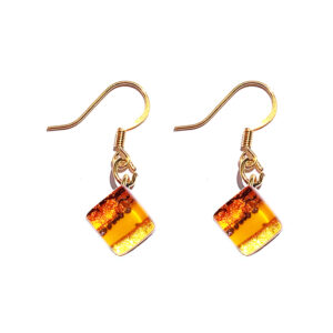 Small Murano glass earrings, striped with gold leaf