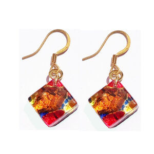 Square Murano glass earrings, red with gold leaf