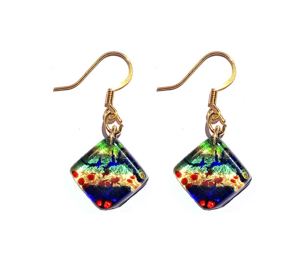 Square Murano glass earrings, multicoloured with gold leaf