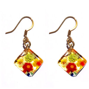 Square Murano glass earrings, murrine with gold leaf