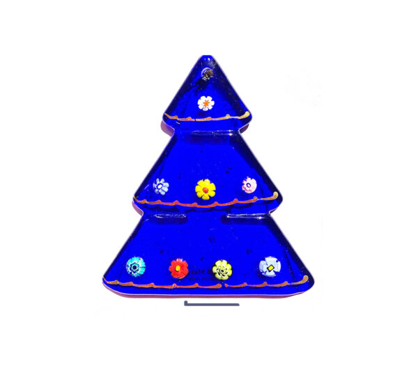 Albero in vetrofusione con base - blu