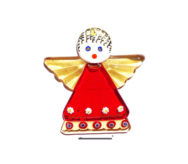 Angel in fused glass, table ornament, red