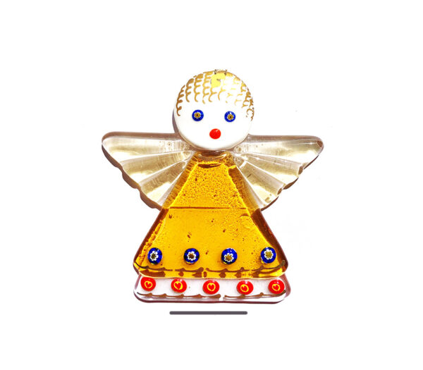 Angel in fused glass, table ornament, topaz