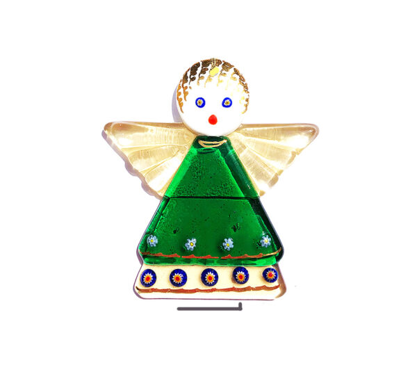 Angel in fused glass, table ornament, green